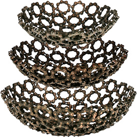 "Metal Bicycle Chain Bowls  Crafted by Artisans in India  Largest one measures 4"" high with 12-1/2"" diameter"