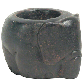 Elephant Clay Tea Light Holder   Crafted by Artisans in El Salvador   Exterior measures 2 3/8 high x 2 7/8 wide x 3 1/2 diameter