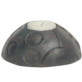 Lady Bug Clay Tea Light Holder   Crafted by Artisans in El Salvador   Exterior measures 1 3/4 high x 4 wide