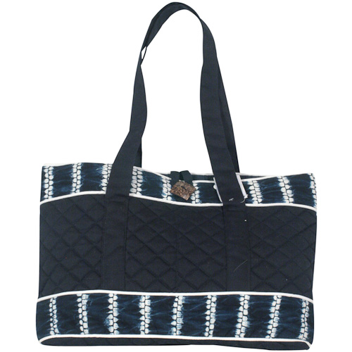 Indigo Quilted Tote Bag Crafted By S In El Salvador Exterior Dimensions 10 3 4 Height X17 Wide X 2 Diameter 4strap Drop