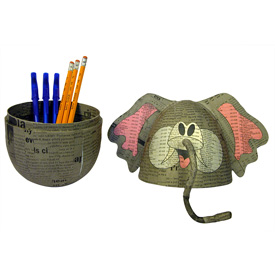 Paper Mache Elephant Box handmade by artisans in   the Philippines </center< width=275 >