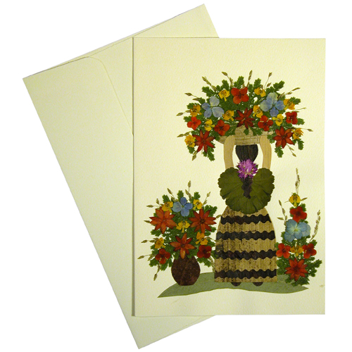 Ethnic greeting cards in the garden from el salvador flowers and flower woman handmade ethnic floral greeting card made by woman artisans in el salvador measures 6 78 in tall x 4 34 in wide m4hsunfo