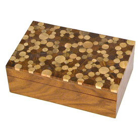 "Shesham Wooden Box with Mango Wood Inlay on Top – Large Measures 7-3/4 wide x 4-7/8"" deep x 3"" high"