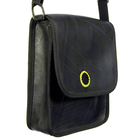 Recycled Tire Tube Document Bag Dimensions: 7'' wide x 8 1/2'' high x 2 3/4'' depth, 56'' nylon adjustable strap (28'' strap drop)