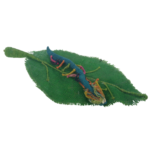 Jute Worm On A Leaf Figurines From Bolivia Fair Trade