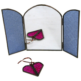 Arched Mirror w/ Doors of Colored Glass - Blue Closed - Measures 5-3/4 wide x 8 high Opened - Measures 11-1/4 wide x 8 high