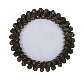 Small Round Photo Frame made of Recycled Bicycle Chain Interior of Frame Measures  3-1/2 diameter Entire Frame Measures 5-1/4 diameter x 2-1/2 deep