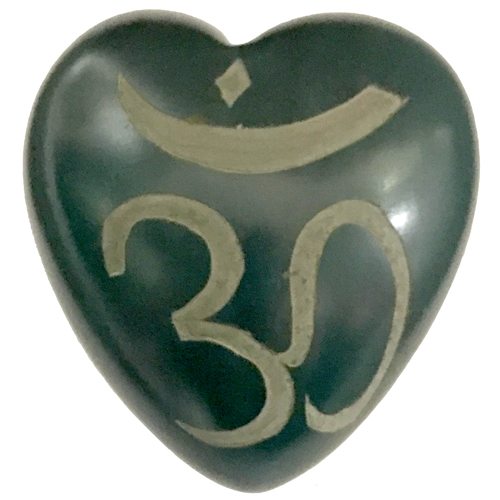 Colorful Soapstone Hearts Om Symbol Hand Crafted In Haiti Fair