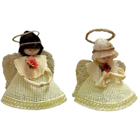 Jute Angel Ornament with Brown or White Hair<br width=275 >handmade in Ecuador by artisans at Camari<br>Angels Measure 3 tall x 2 5/8 wide x 2 diameter<center/>