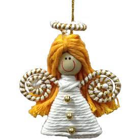 """Angel Cotton and String Doodad Ornament Crafted by Artisans in Colombia  Measure 2 3/4"""" high x 2 1/2'' x 7/8'' deep"""