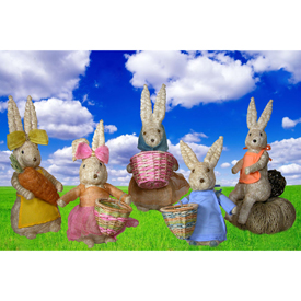 Bunny Rabbit Family made from Abaca Fiber Handmade in the Philippines by Artisans of Disenio de Craftico