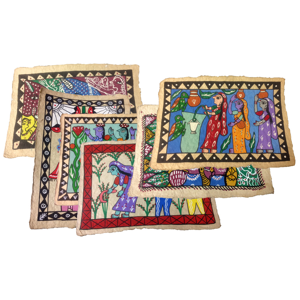 8x12 hand painted mithila wall art from nepal fair trade for Home decor nepal
