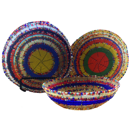Large ...  sc 1 st  One World Projects & Multi Color - 3 Nesting Glass Beaded Bowls from Kenya | Handmade ...