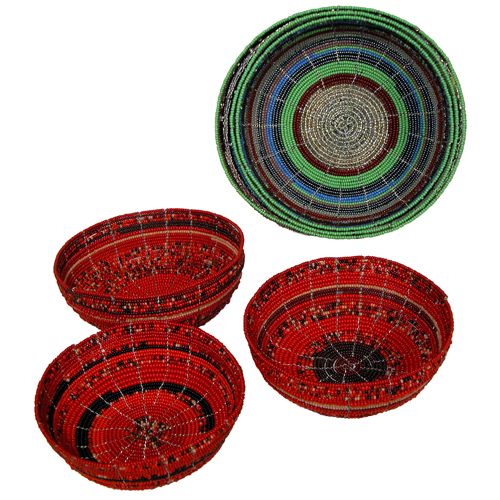 Large Nesting Glass Beaded Bowls-Set of 3-Blue or Red Handmade in Kenya Nesting Bowls Will Vary Slightly in Shape and Size  sc 1 st  One World Projects : fair trade dinnerware - pezcame.com