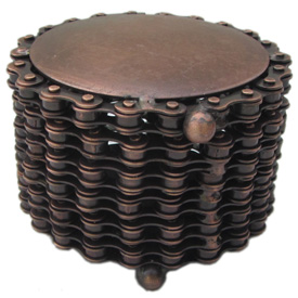 Round Box made from Recycled Bicycle Chain dimensions 3-3/4diameter x 2-3/4 high