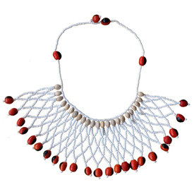 "White Woven Bead and Seed Necklace  Crafted by Artisans in Peru  Measures 17"" in length"