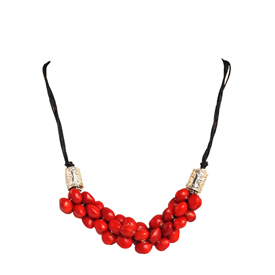 "Red Seed Necklace with Black Cording and Silver Cylinder Findings   Crafted by the Shipbo in Peru  Measures 22"" in length"