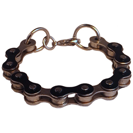 Recycled Bicycle Chain Bracelet - Silver and Black <br width=275 > Medium Size (7-1/2 inches)