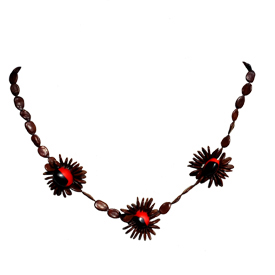 "Brown Seed Necklace with 3 Center Flower accents  Crafted by the Shipbo in Peru  Measures 15"" in length"