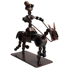 Junkyard Cowboy Crafted by Artisans in India Measures 7 high x 8 long x 3 wide