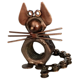 """Junkyard Mouse Crafted by Artisans in India<br/ width=275 >Measures 3.5"""" high x 3.5"""" long x 3.25"""" deep"""