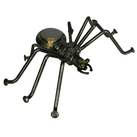 """Junkyard Spider Crafted by Artisans in India<br width=275 >Measures 1-1/2"""" high x 4"""" wide x 3"""" deep"""