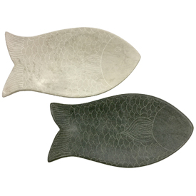 Etched Soapstone Fish Dish Grey or White 7/8'' high x 8 1/4'' wide x 4 1/4'' deep Crafted by Artisans in Haiti