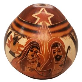 Hand-Carved Gourd Nativity from Peru   Measures approximately 3 - 4 high x 3 - 3-1/4 diameter