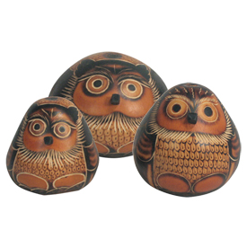 Owl Sitting Carved Gourd Figurines - 3 Sizes: Small, Medium and Large <br width=275 >Crafted by Artisans in Peru and Fair Trade