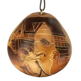 Noah's Ark Gourd Ornament - Side w/ Ark crafted by Artisans in Peru