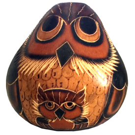 Carved Mother Owl w/ Baby Gourd Figurine <br width=275 >Crafted by Artisans in Peru and Fair Trade