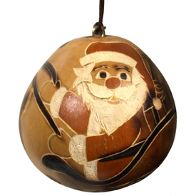 Santa in His Sleigh Gourd Ornament - Natural Color<br width=275 > crafted by Artisans in Peru