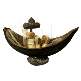 Nativity in a Large Seed Pod with a Eucalyptus Pod Used for the Base and the Sail - Made by Artisans in Ecuador