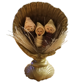 Nativity in a Seashell with a Eucalyptus Pod Used for the Base <br width=275 >Made by Artisans in Ecuador
