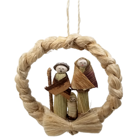 Nativity Wreath Woven of Cauya (a natural fiber) - Mary Joseph and the Baby are made from Cutul <br width=275 >Made by Artisans in Ecuador
