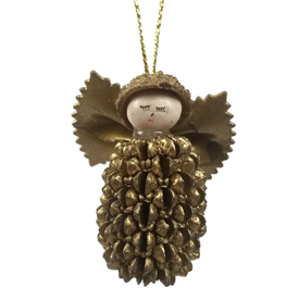 This Angel Ornament is made from a Cypress Seed and Eucalyptus Pod. <br width=275 >The Wings are made from Pasta, and all are produced by Artisans in Ecuador
