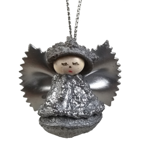 This Angel Ornament is made from a Eucalyptus Pod.<br width=275 >The Wings are made from Pasta, and the Head is a white bean<br>Handmade by Artisans in Ecuador