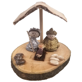 Mary and Joseph are made of Eucalyptus pods and standing on a natural wood base. Their Heads are made from white beans.<br width=275 >Handmade by Artisans in Ecuador