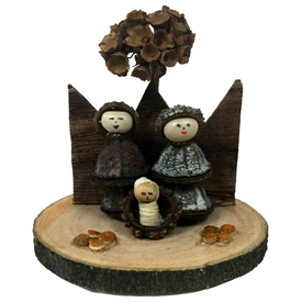 Nativity made from Eucalyptus Pods on a Wooden Base w/ Tree<br width=275 > Made by Artisans in Ecuador