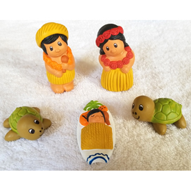 """Ceramic Beach Nativity with 5 pieces Crafted by Artisans in Peru  Measures 3"""" high"""
