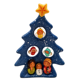 "Ceramic Tree Nativity with three angels hovering overhead Measures 5-1/4 high x 3-1/2"" wide"