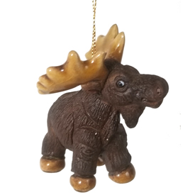 Ceramic Moose Ornament - 2 high x 2-3/4 long x 1-1/2 wide<br width=275 >Made by Artisans in Peru