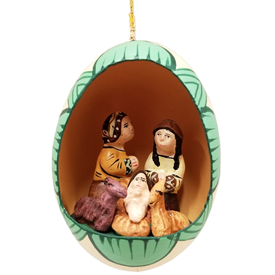 Nativity Ornament made from Yeso (plaster) and Egg Shell<br width=275 > 2-1/4 high x 1-3/4 diameter - Made by Artisans in Peru
