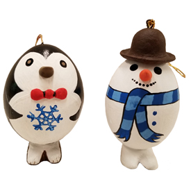 Penguin and Snowman Egg Shell Ornaments<br width=275 > 2-1/4 high x 1-3/4 diameter - Made by Artisans in Peru