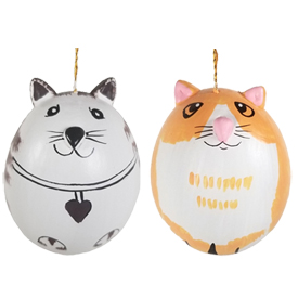 Kitty Cat Egg Shell Ornaments - Orange or Brown Striped<br width=275 > 2-1/4 high x 1-3/4 diameter - Made by Artisans in Peru