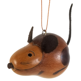 Mouse Gourd Ornament<br width=275 > 3-1/4 long x 2-1/2 diameter - Made by Artisans in Peru