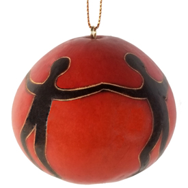 "One World Gourd Ornament with People Dancing Together<br width=275 >Measures 2-1/2"" high x 2-3/4"" diameter - Crafted by Artisans in Peru"