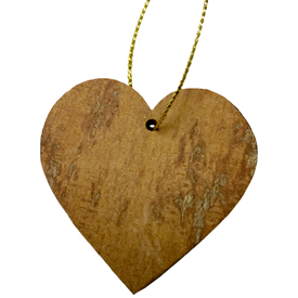 "Heart Ornament made from Cinnamon Bark crafted by Artisans in Vietnam   Measures 1 3/4"" high x 2 7/8"" wide x 1/8"" deep"