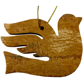 "Peace Dove Ornament made from Cinnamon Bark crafted by Artisans in Vietnam   Measures 1 3/4"" high x 2 7/8"" wide x 1/8"" deep"