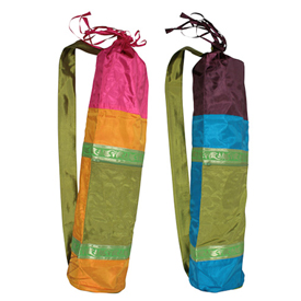 "Taffeta Yoga Bags  Crafted by Artisans in India  Measure 27-1/2"" long x 6-1/2"" in diameter"